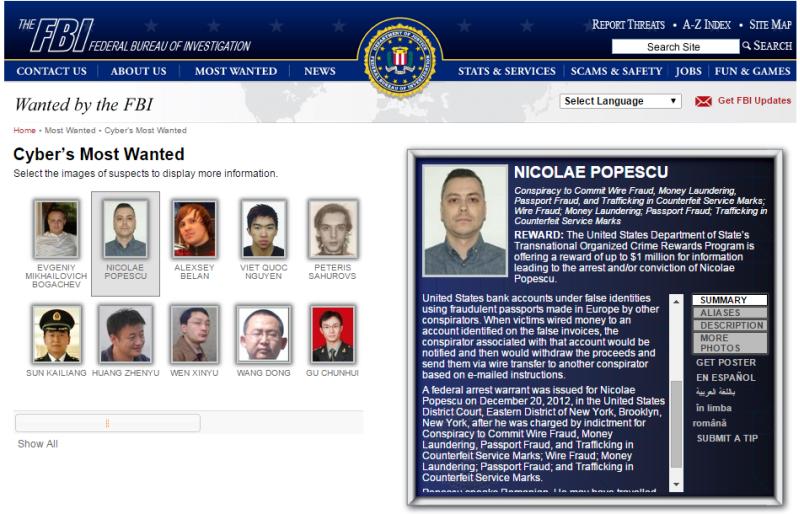 NICOLAE POPESCU fbi cyber most wanted